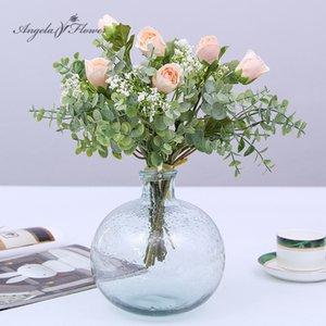 Анджела цветок Искусственный букет роз маленький лотос младенцев дыхание цветок декора для дома свадьба партии зеленых растений Dropshipping