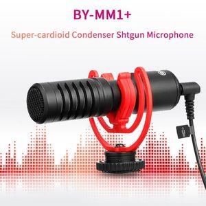 BOYA BY-MM1 + Super Cardioid Shotgun Microfone 3,5 milímetros saída de fone de ouvido TRS TRRs para Smartphone Tablets DSLR Consumidor Camcorder PC