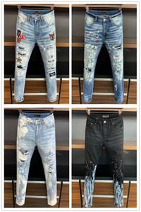 AMIRI Chegada Nova Marca de Qualidade Superior Designer de Homens Denim Jeans Bordados Calças Moda Buracos Calças EUA Tamanho 28-38