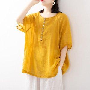 Fina ropa de algodón de colores sólidos muñeca verano literaria muñeca de algodón y lino suelta camisa de manga corta camisa de las mujeres