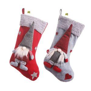 I titolari NUOVO Natale calze con 3D svedese Gnome bambola Xmas Tree ciondolo appeso ornamenti vacanza Camino Decorazioni Regali DHA1010
