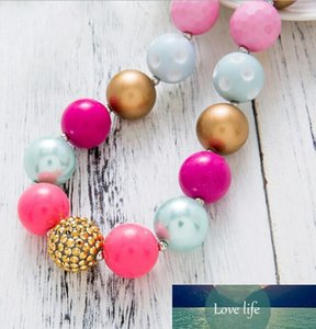 Pink Bubblegum Necklace Fashion Korean Acrylic Chunky Beaded Choker Necklaces for Kids Children Jewelry Baby Girls