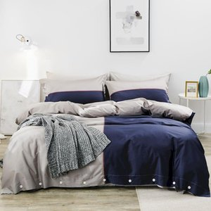 42 King Queen size Bedding Set gray with blue Duvet Cover Pillowcase Sheet  fitted sheet Bed Linens egyptian cotton bed cover