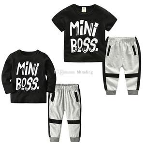 Baby INS Outfits Boys MiNi Letter Print Top+pants 2pcs set 2018 Summer Boutique Kids Clothing Sets C4248