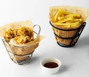 Stainless Steel French Fries Stand Chips Basket Snack Holder Fries Fry Bucket Appetizers Fast Food Shelf Meat Tray