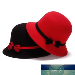 6 couleurs Printemps Hiver Faux Wool Felt femme Top Hat Mode Lady Bucket Chapeaux Femme Stingy Brim gros chapeaux GH-40