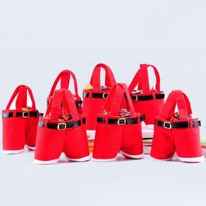 Babbo pantaloni stile delle decorazioni regalo di Natale Borse Caramelle e dolciumi Natale carrello Candy Tote Bags per il partito Home Decor