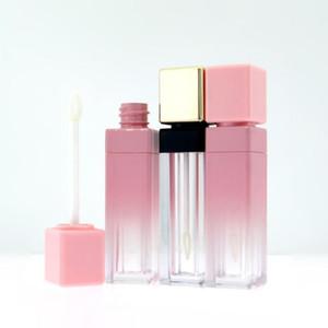 Новый 1 / 5шт 10ML Gradient площади Lip Gloss Tube Глазурь Pink Gold Обложка Scrub Пустые трубы губная помада Мини Sample косметический контейнер