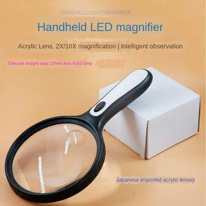 el 4LED lamba taşınabilir 138mm 138mm ayna yaşlı ayna okuma f9WUo yaşlı el büyüteci 4LED lamba taşınabilir büyüteç okuma