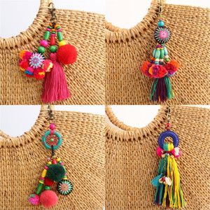 1pc Fiore Charms Keychains Perline in legno con Pompon portachiavi dei monili variopinti di Boho Style