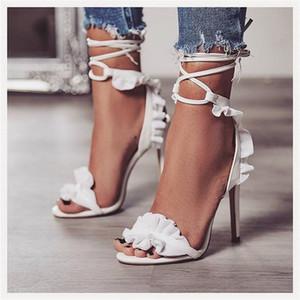 Женщины Летние сандалии New Cross Strappy Тонкий каблук Peep Toe Женская обувь Белый Сборки Узелок дамы насосы Женская обувь