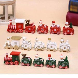 Деревянные Рождественский поезд орнамент Новогоднее украшение Для дома Санта-Клаус Подарочные игрушки Crafts стол Xmas 2021 Happy New Year HWC2401