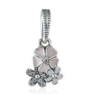 New Collection Authentic Sterling Silver Poetic Bloom Enamel Flower Dangle Charms Fit Beads Bracelets DIY Fine Jewelry Making ps2055