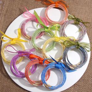 Flatfoosie 5 PCS / Set Bowknot Многоцветных шарики Glitter браслеты Set 2020 All Weather Stack Силиконовых Пластиковый Блеск Желе браслеты