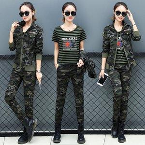Camouflage-T-Shirt Overalls Overalls Anzug Frauen Herbst neues T-Shirt Mantel Hose overallstraining Anzug dreiteilige Set
