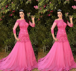 Elegant Hot Pink Mermaid Evening Bridesmaid Dresses Off the shoulder with 3 4 Long Illusion Sleeves Lace Applique Prom Party Cocktail Dress