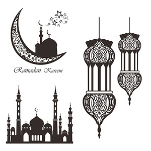 New Wall Sticker Non-Woven Muslim Eid Mubarak Moon Pendant Ramadan Festival Party Hang Decor Room Home Decoration Accessories