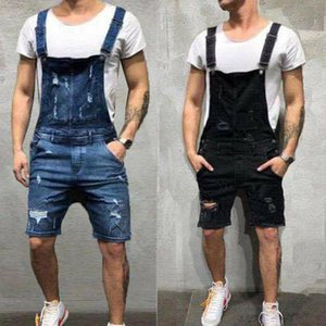 Men Overalls Short Suits One Piece Ripped Jeans Jumpsuits Trousers Vintage Denims Dungarees Holed Jeans