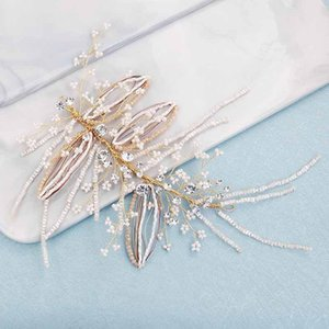FORSEVEN Luxury Gold Color Handmade Headband Crystal Hair Pin Women Tiara Bride Headpeice Wedding Hair Jewelry Accrssories JL