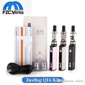 Justfog original Q16 Vape Kit 900mAh Negro Plata Rosa E cigarrillos Vape pluma Starter Kit con 2 ml atomizador 1.6ohm OCC bobina