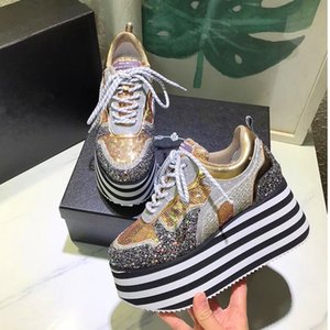 Thick bottom 2020 New Spring Flat Woman Single Shoes High Platform Gold Shining Shoes Lace-up Fashion Genuine Leather Shoes
