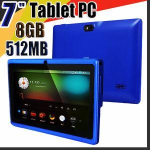 """828 Allwinner A33 Dört Çekirdek Q88 Tablet PC Çift Kamera 7"""" 7 inç kapasitif ekran Android 4.4 512MB 8GB Wifi hakkında play store flaş E-7PB"""