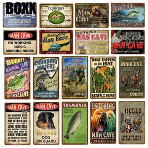 Man Cave Rule Metal Signs Fishing Hunting Poster Farm House Wall Sticker Vintage Art Crafts Public Decor Painting Plaque