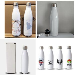 500ML Blank Car Cups Sublimation Edelstahl Cola-Flasche Bowling Vacuum Cup DIY Wärmeübertragung White Bear Wasser Thermos Auto Tassen F92406
