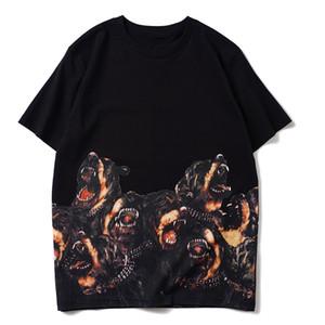Manica corta Stampa T Shirt Mens Dog Fashion delle donne degli uomini di Hip Hop girocollo alto QualityCouples maglietta del cotone Tees
