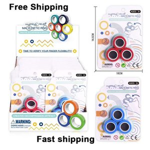 3pcs   Set Magnetic Ring Finger Spinning in the Air Magnet Toys Fidget Spinner Stress Relief toy, Colorful Hand Spinner, Anti-stress Fidget