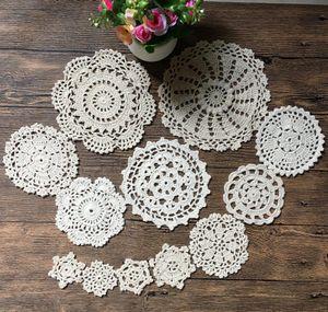 New Design 24Pcs 100% Cotton Hand Made Crochet Doilies Cup Mat Pad Coaster 12 Vintage Crochet Motifs 5-18cm White Beige
