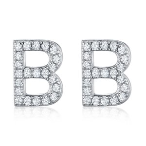 925 Sterling Silver Earring Letter B Clear Cubic Zirconia Simple Fashion Stud Earring for Women Girls Fine Accessories Jewelry