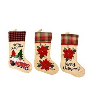 Creative Santa Claus Christmas Socks Cartoon Cute Candy Gift Bags Personality Christmas Tree Pendant Festive Party Supplies DWF3336