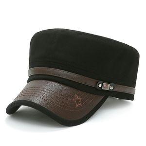 Casual Cotton Male Flat Cap Adjustable Vintage Men Cap High Quality Summer Army Hat Retro Flat Top Baseball Bone