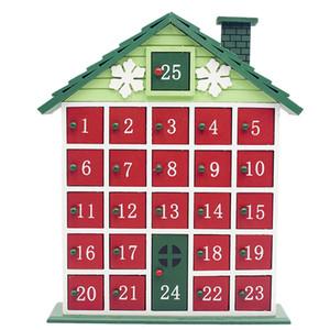 Christmas Countdown madera Calendario casa pintada de Navidad del estante del calendario caramelo de almacenamiento caja de regalo de la decoración del hogar del cajón