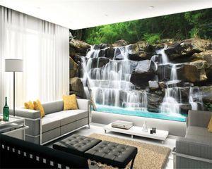 3d Cenário 3D Wallpaper Paisagem Natural Montanha Bamboo Forest fluxo de fundo Cachoeira água decorativos de parede Mural Wallpaper