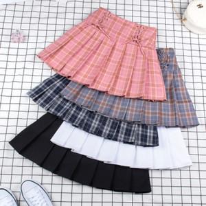 Adolescente Deportes Tenis faldas de cintura alta vestido corto plisado falda de tenis con los calzoncillos niñas uniforme escolar delgado de la animadora