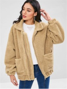Color Coat Fashion Zipper Stand Collar Jacket Womens Casual Long Sleeves Pockets Outerwear Designer Womens Solid