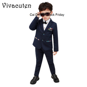 Flower Boys Formal Suit Kids Wedding Birthday Party Dress Blazer Vest Pants 3pcs Child Tuxedo Prom Gentleman Performance Costume