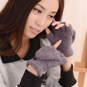 janUq d'automne et d'hiver nouveaux étudiants adultes des gants chauds Universal Warm glovesGloves et glovescute moitié flip molletonnée doigt loversgloves