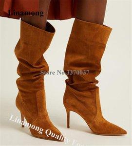 Linamong Moda punta estrecha tacón de aguja Rodilla flojo atractivo de los cargadores Slip-en Brown Negro de cuero de gamuza botas de tacón alto