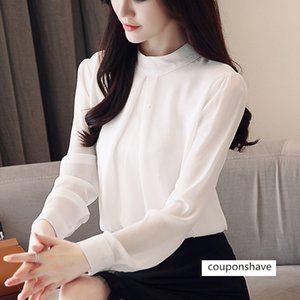 2019 new women's pure color loose belly-covering foreign-style long-sleeved Chiffon shirt