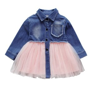 Free Shipping New Arrival Toddler Infant Baby Girls Denim Tutu Tulle Princess Dresses Outfits Z0128