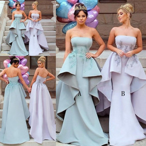2021 Strapless Bridesmaid Dresses Lace Applique Sweep Train Embroidery Mermaid Overskirt Ruffles Custom Made Maid of Honor Gown Plus Size
