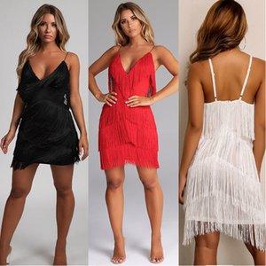 Frauen-reizvolle Art und Weise Kleid Bodycon tiefer V-Ausschnitt reinen Farben-Riemen-Tassel Kleid Nachtclubs Wear