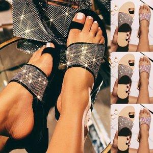 mujer SAGACE Kadınlar Klip-Toe Kristal Flats Sandalet Terlik Flip Flop Yaz Günlük Ayakkabılar Moda Plajı Terlik pantuflas 2020