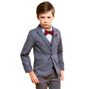 Brand Flower Boys Plaid Blazer Vest Pants 3pcs Suits for Wedding Party Dress Child Formal Tuxedo Performance Costume Kids Set