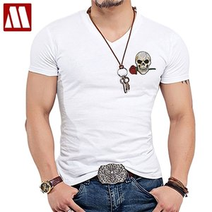 New Funny Colorful Rose Skull T Shirt Men's White Short Sleeve Embroidery T-shirt New Fashion Brand Men Sknniy Tshirt 5XL A003 0924