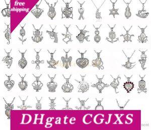 Silver Pearl Cage Pendentif avec perle Oyster naturel perles mode sirène licorne dragon forme Médaillon Clavicule Collier chaîne Diy