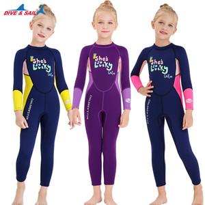 DIVE SAIL Meninas Wetsuit Mergulho Terno 2.5MM Neoprene Swimsuit manga comprida Surfing Medusa Roupas Swimwear para Água Fria